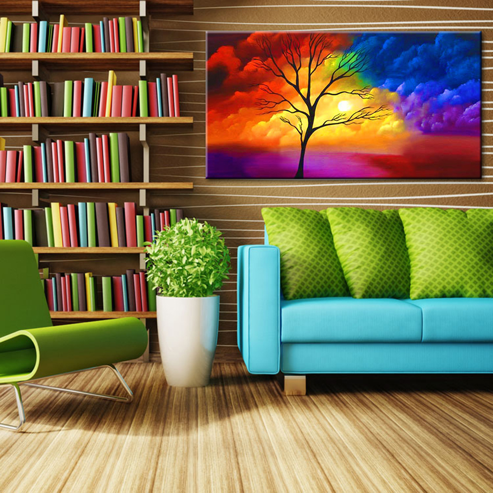 Colorful Clouds Oil Painting Modern Abstract Tree Canvas Art Hand ...