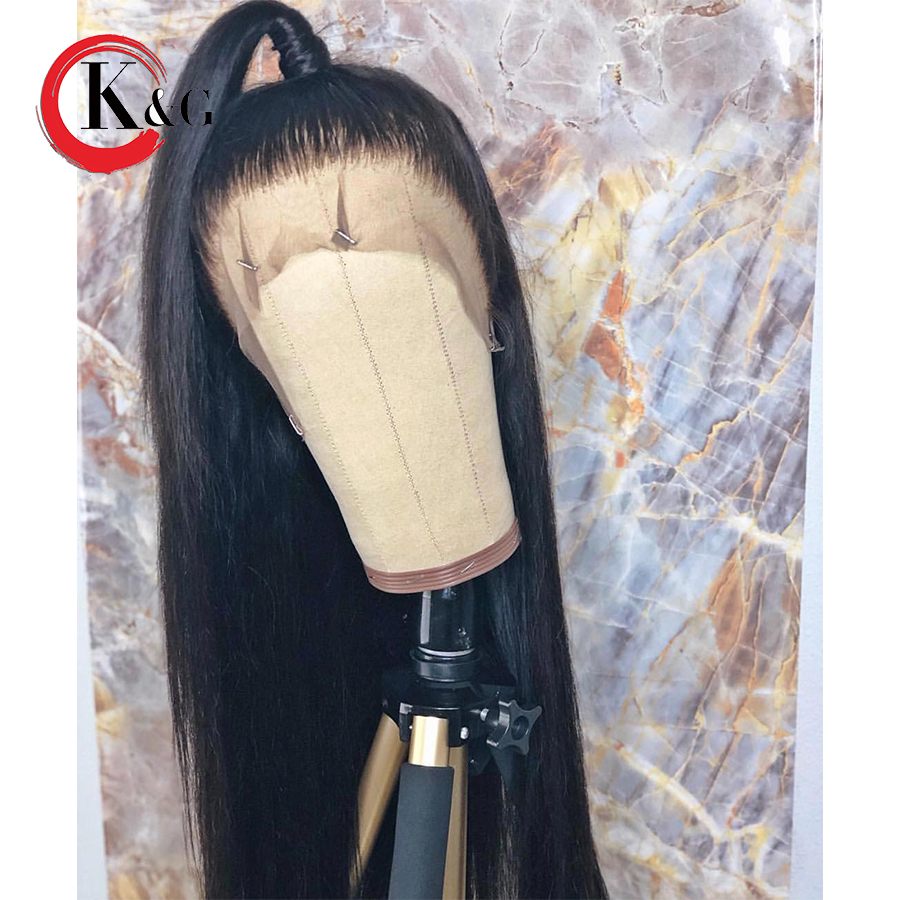 KUNGANG Straight Lace Front Human Hair Wigs Free Part Bleached Knots Brazilian Remy Hair Wig With