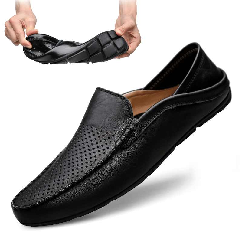 Italian Mens Shoes Casual Luxury Brand Summer Men Loafers Genuine Leather Moccasins Light Breathable Slip on Boat Shoes JKPUDUN