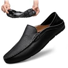 İtalyan erkek ayakkabı rahat lüks marka yaz erkek mokasen ayakkabıları hakiki deri Moccasins hafif nefes tekne ayakkabı üzerinde kayma JKPUDUN