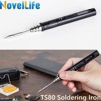 Mini TS80 Portable Electric Soldering Iron Adjustable Temperature Digital Solder Station OLED Display USB Type C Power Jack