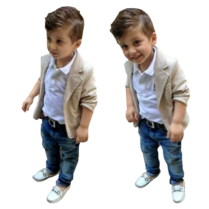 Brand Boys Clothing Set Full Jacket Coat + T-Shirts + Denim Pants 3pcs Sets Kids Clothes For Boys 1-7 Years Children Clothing