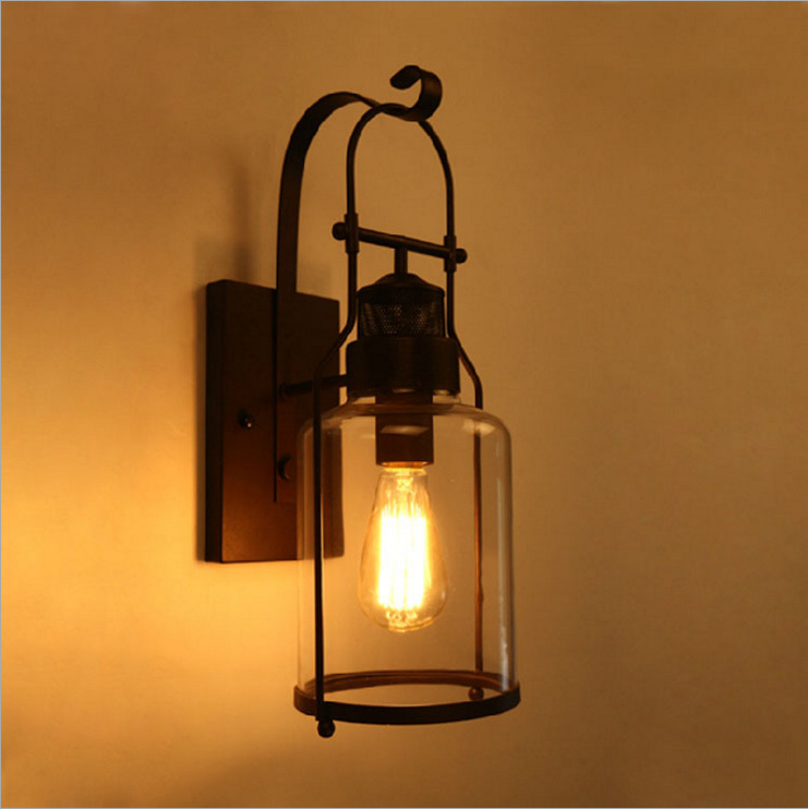 American style rural industrial antique LOFT bedroom bedside lamp retro iron glass wall lamp balcony wall lamp