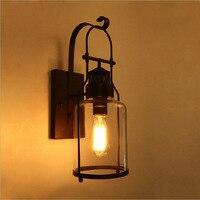Amerikan tarzı kırsal endüstriyel antika LOFT yatak odası başucu lambası retro demir cam duvar lambası balkon duvar lambası