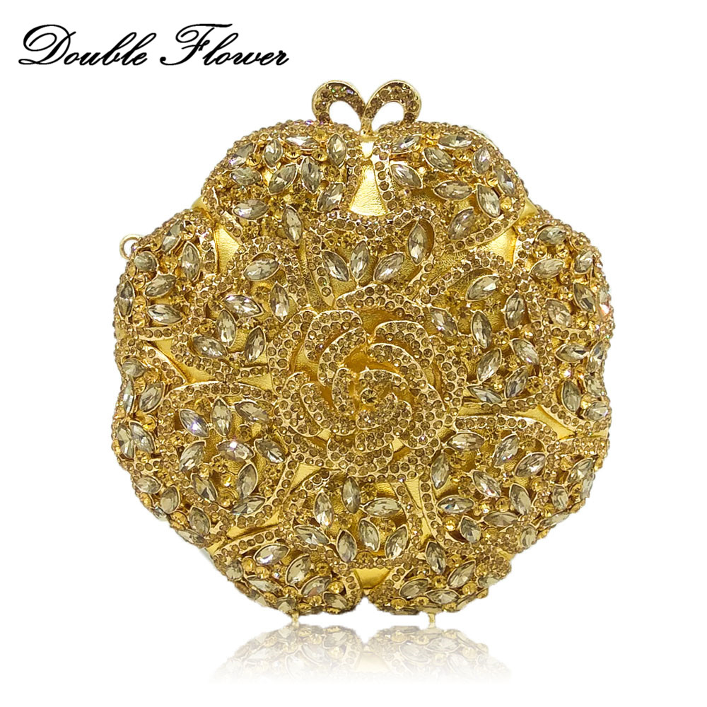 Double Flower Hollow Out Round Circular Women Gold Crystal Flower Evening Clutch Bags Wedding Bridal Handbag Cocktail Purse double flower hollow out sparkling dazzling crystal women gold evening clutch bags wedding party bridal diamond handbag purse