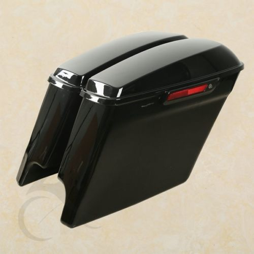 Estesa Stretched Borse Laterali Con Nero di Blocco + Tasti Per Harley Electra 14-18 Moto