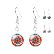 New Fashion Mandala Flower Glass Cabochon Statement Earrings Jewelry For Women Buddhism Mandala Long Drop Earrings Women