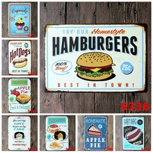 Retro Hamburgers Hot Dogs Metal Tin Signs For Bar Club Pub Cafe Hotel Family Home Wall Decor Vintage Art Painting Poster YN001