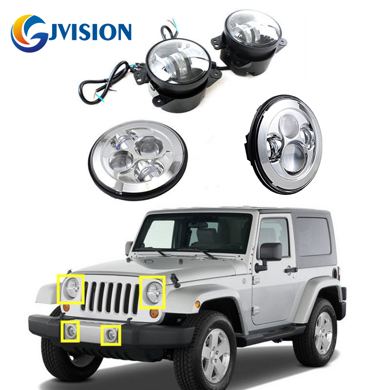 7 inch 40W Round led headlight for Jeep Wrangler JK 4'' INCH LED fog lights Auto LEN projector headlight Driving Offroad lamp 2pcs led round 4 inch fog lights 30w 4 fog lamp lens projector led driving headlamp for offroad jeep wrangler dodge chrysler