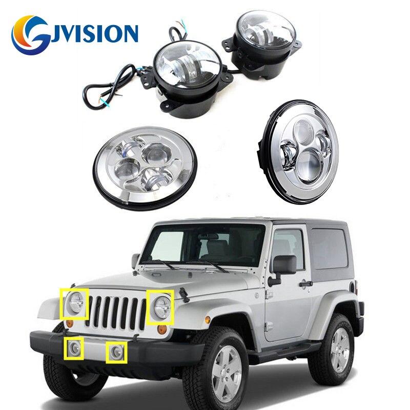 DOT Approved 7 Silver Daymaker led headlights High Low Beam 4 inch led fog lights lamp for Jeep Wrangler 97-2017 JK TJ LJ