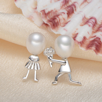 gNpearl Freshwater Pearl Earrings natural pearlearrings 925 Sterling Silver jewelry trendy Confession gift Propose Marriage
