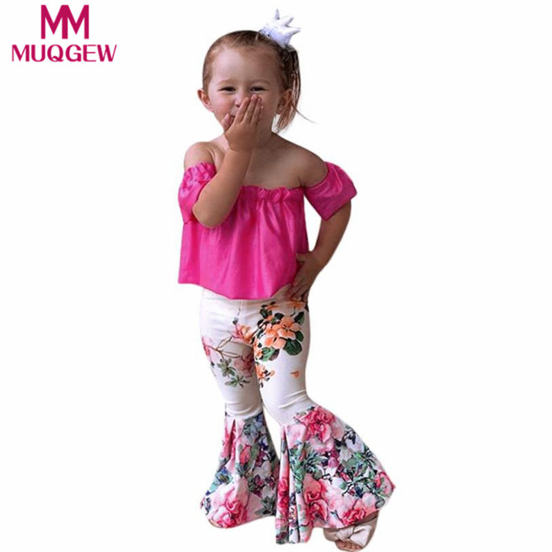 2Pcs Toddler Baby Clothing Sets Kids Girls Solid Off Shoulder Tops+Floral Pants Outfits Conjunto infantil Roupa infantil clothes girl