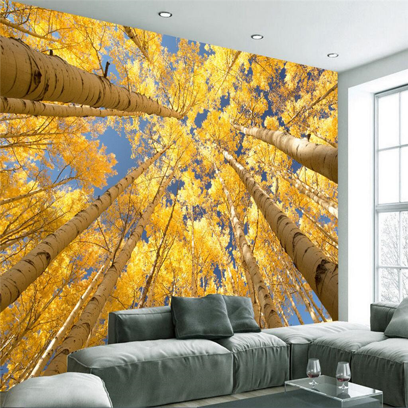 beibehang Custom Photo Mural Wall Sticker Aesthetic Look Up Trees ...