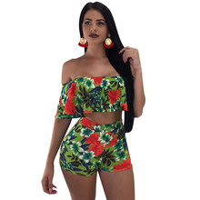 Floral Print Two Piece Outfits Women's Set Short Sleeve Ruffles Strapless Crop Top and Shorts Boho Beach Summer Matching Outfits недорого