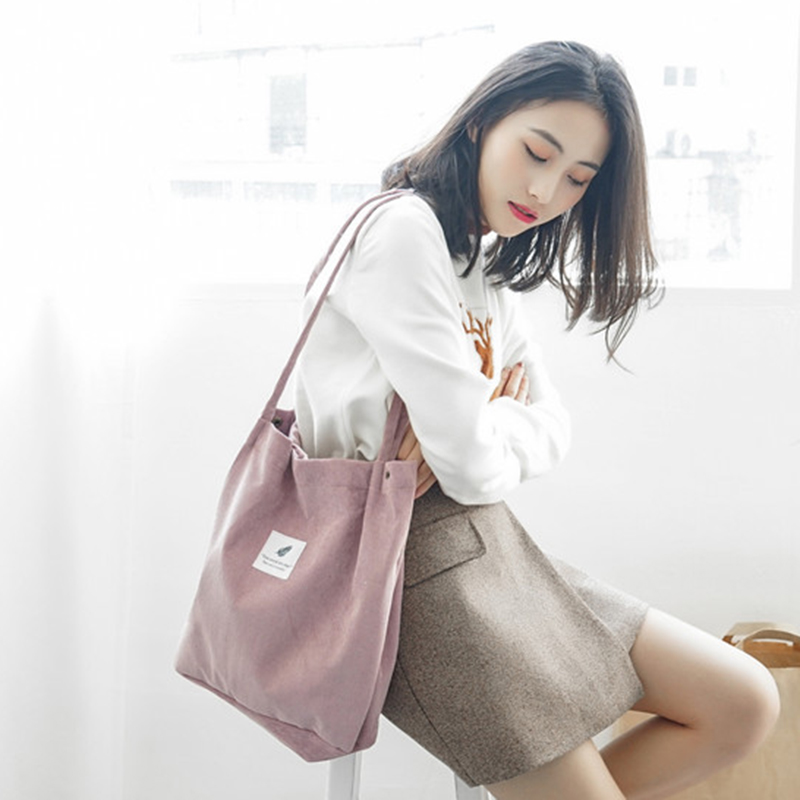 PUBGS Women Tote Female Casual Shoulder Bag Ladies Canvas Handbag High Capacity Foldable Reusable Corduroy Shopping Bag For Girl(China)