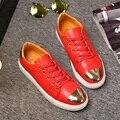 ¡ Nuevo!!! llegada de los Hombres populares Zapatos Casuales marca de lujo de los hombres zapatos de Moda con flash de lentejuelas de Metal de gran tamaño 39-45