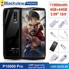 Blackview P10000 Pro 11000 mAh Cep telefonu 16MP 4 Kameralar Yüz KIMLIĞI 5.99