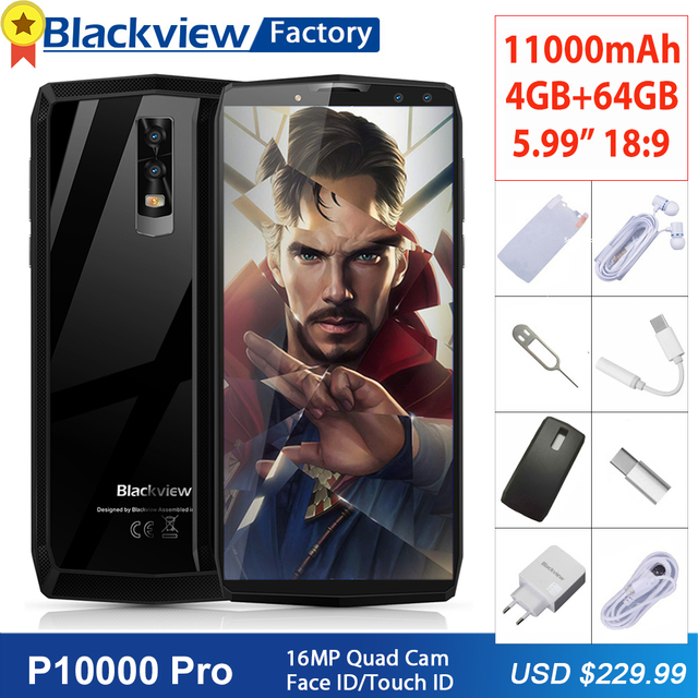 "Blackview P10000 Pro 11000mAh Mobile phone 16MP 4 Cameras Face ID 5.99""FHD+ Smartphone 4GB+64GB Fingerprint ID Cell phone 4G LTE"
