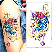 M-theory Funky Body Makeup Temporary 3d Unicorn Tattoos Sticker Henna Flash Tatoos Tatuagem Body Arts Tatouage Tatto Stickers