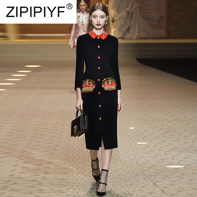 2019 Spring Fashion Dresses Color Block Single-breasted Turn-down Neck Body-con Dresses Beading Embroidery Party Dresses Z110