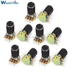 Resistencia de potenciómetro WH148, 5 uds., B1K B5K B20K B50K B100K B500K, eje moleteado de 3 pines, rotativo de conicidad lineal con perilla de tapa para Audrino