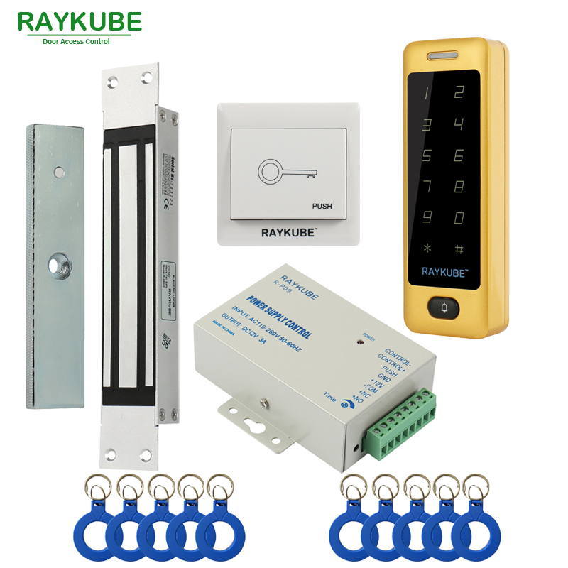 RAYKUBE Electric Magnetic Lock Access Control System Kit 180KG/280KG + Metal Touch FRID Keypad Security Door 14 5 11 2