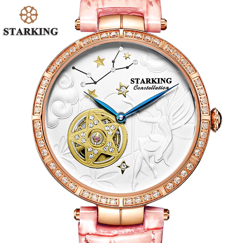 STARKING Retro Vintage WristWatch ConstellationVIRGO Watch Women Antique Star Shape Luxury Rose Gold Mechanical Watch Swim Clock майка классическая printio slayer season in the abyss 1990