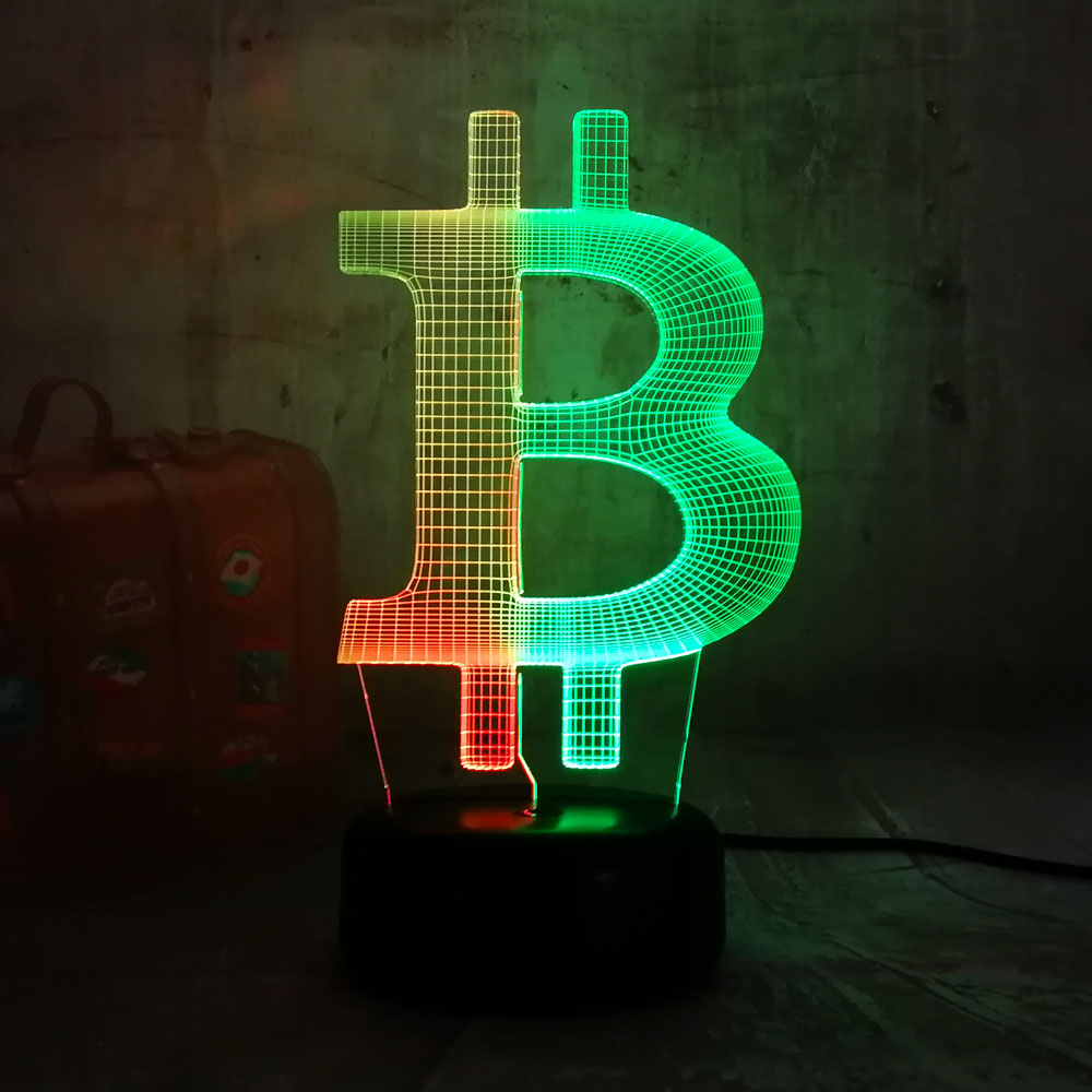 Lustre Novelty Bitcoin 3D LED Bulb 7 Colors Mixed Night Light Kids Bedroom Decoration RGB Lamp Birthday Present Christmas Gift