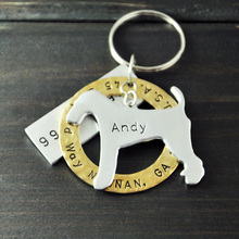 Airedale Terrier Dog Tag, Personalized Pet ID Tag Hand Stamped Alloy Customized Name Jewelry