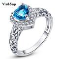 Banhado a ouro branco anel de Londres Jóias coração Azul Safira Anéis Para as mulheres AAA CZ diamante Wedding engagement bague Bijoux VSRR002