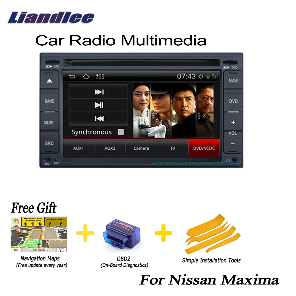 US $329 37 15% OFF Liandlee 2 din Car Android GPS For Nissan Maxima  2003~2008 Navi Navigation Maps Radio CD DVD Player Audio Video Stereo OBD2  TV-in