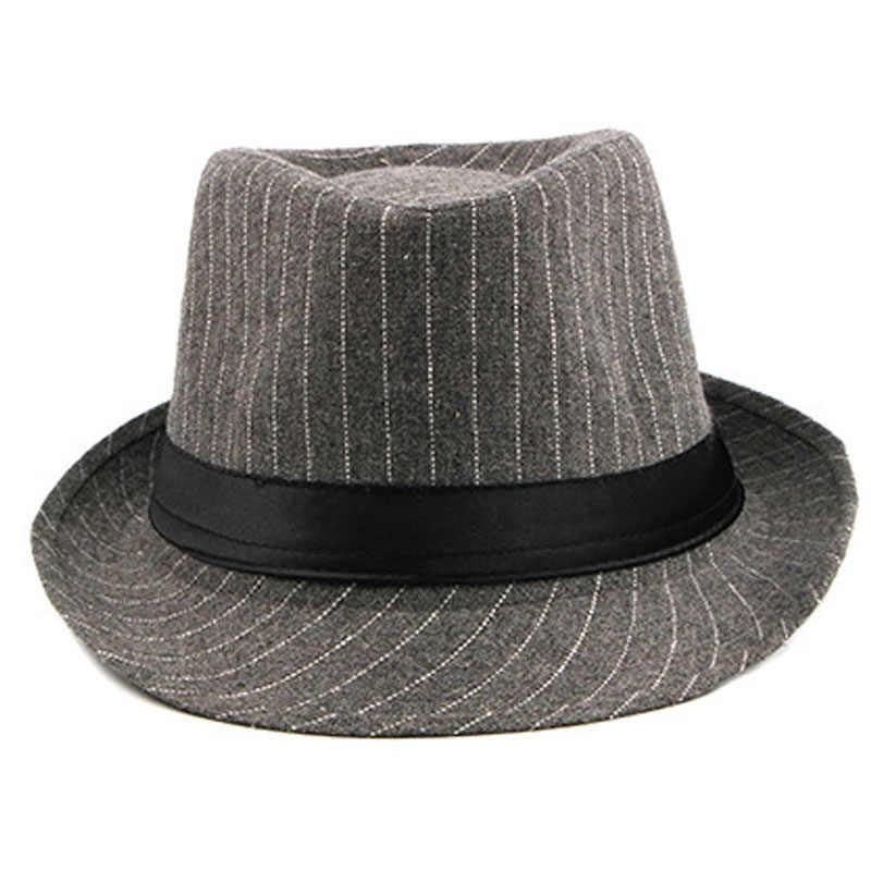 b5be31ef ... FS Vintage Striped Felt Hat Wide Brim Gangster Hats For Men 2018  Stylish Trilby Spring Autumn ...