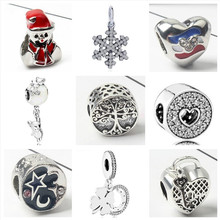 Btuamb European Luxurious Crystal Cross Snowflake Flower Pendant Charm Beads Fit Pandora Bracelets & Bangles Women DIY Jewelry(China)