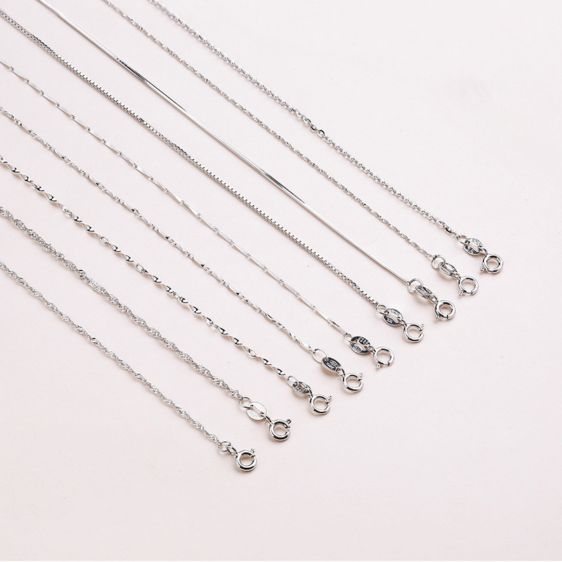 ALI shop ...  ... 32851991551 ... 3 ... Classic Basic Chain 100% 925 Sterling Silver Lobster Clasp Adjustable Necklace Chain Fashion Jewelry for Women 45cm ...
