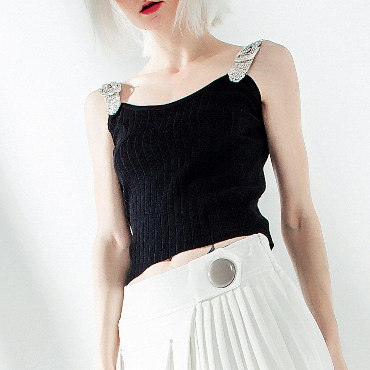2019 été nouveau designer crop hauts femmes sexy élégant noir/blanc diamants sangle mince tricot camis mode rue style réservoir hauts