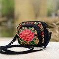 Nuevo Diseñador de la llegada Bolsos de Las Mujeres Personalizadas Bolsas de Doble Cara de La Flor Bordada Hombro de la Lona Bolsos Crossbody
