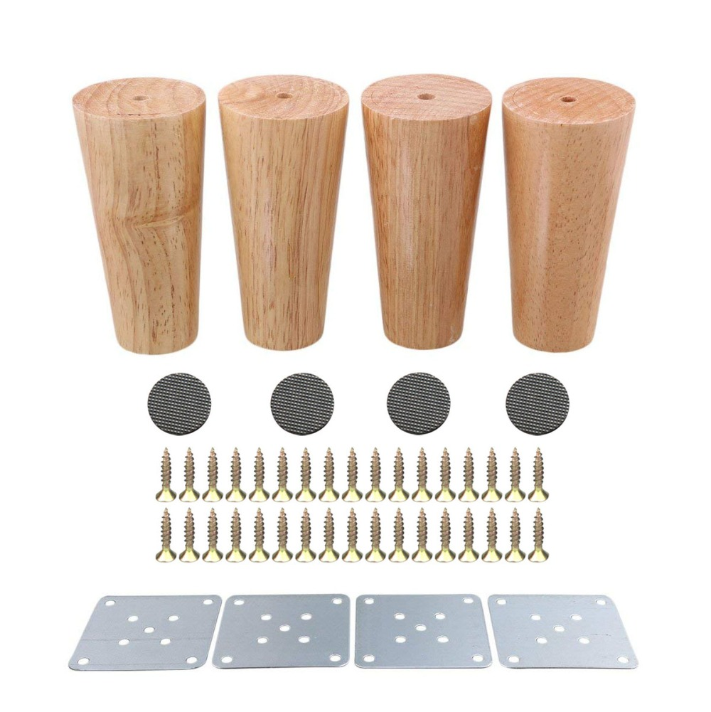 4Pcs Natural Wood Reliable 120x58x38mm Wood Furniture Leg Cone Shaped Wooden Feets For Cabinets Soft Table
