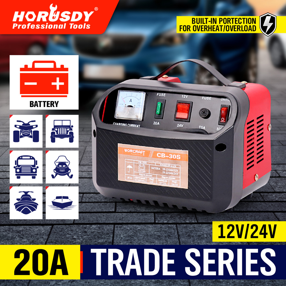 HORUSDY Car Battery Charger 12V / 24V 20A ATV Boat Tractor Caravan Motorcycle battery charger 100w