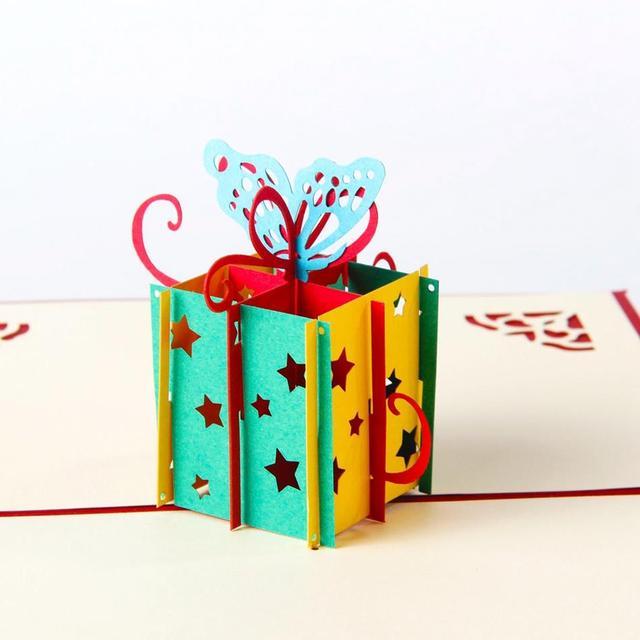 Happy Birthday Gift box Butterfly Handmade Creative 3D Pop UP – Gift Card Happy Birthday