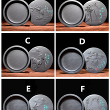 1piece,Traditioanl Chinese Inkstone for Grinding Ink Made of Natural Stone Ink Slab Round Ink Stone with Cover