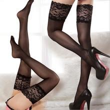 Quente sexy feminino laço floral superior silicone banda ficar até coxa alta meia, lingerie sexy meias de renda