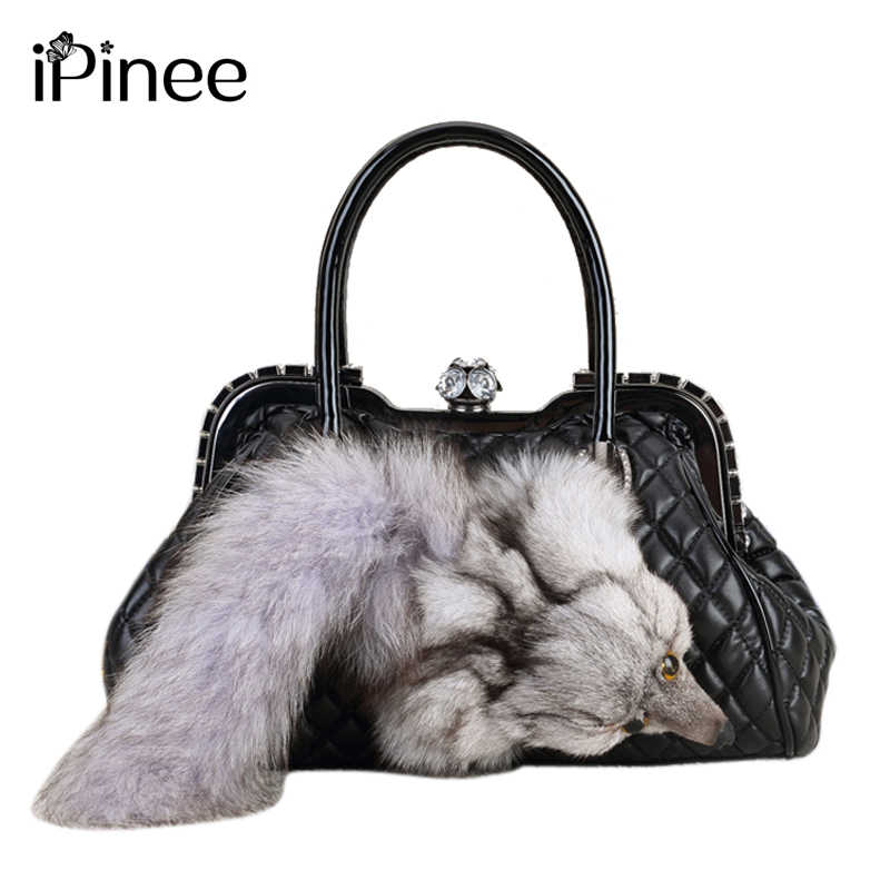 iPinee Brand Fox Fur Handbags Fashion Women Winter Luxury Bag PU Leather Shoulder Bags Bolsa Feminine Messenger Bags 2019