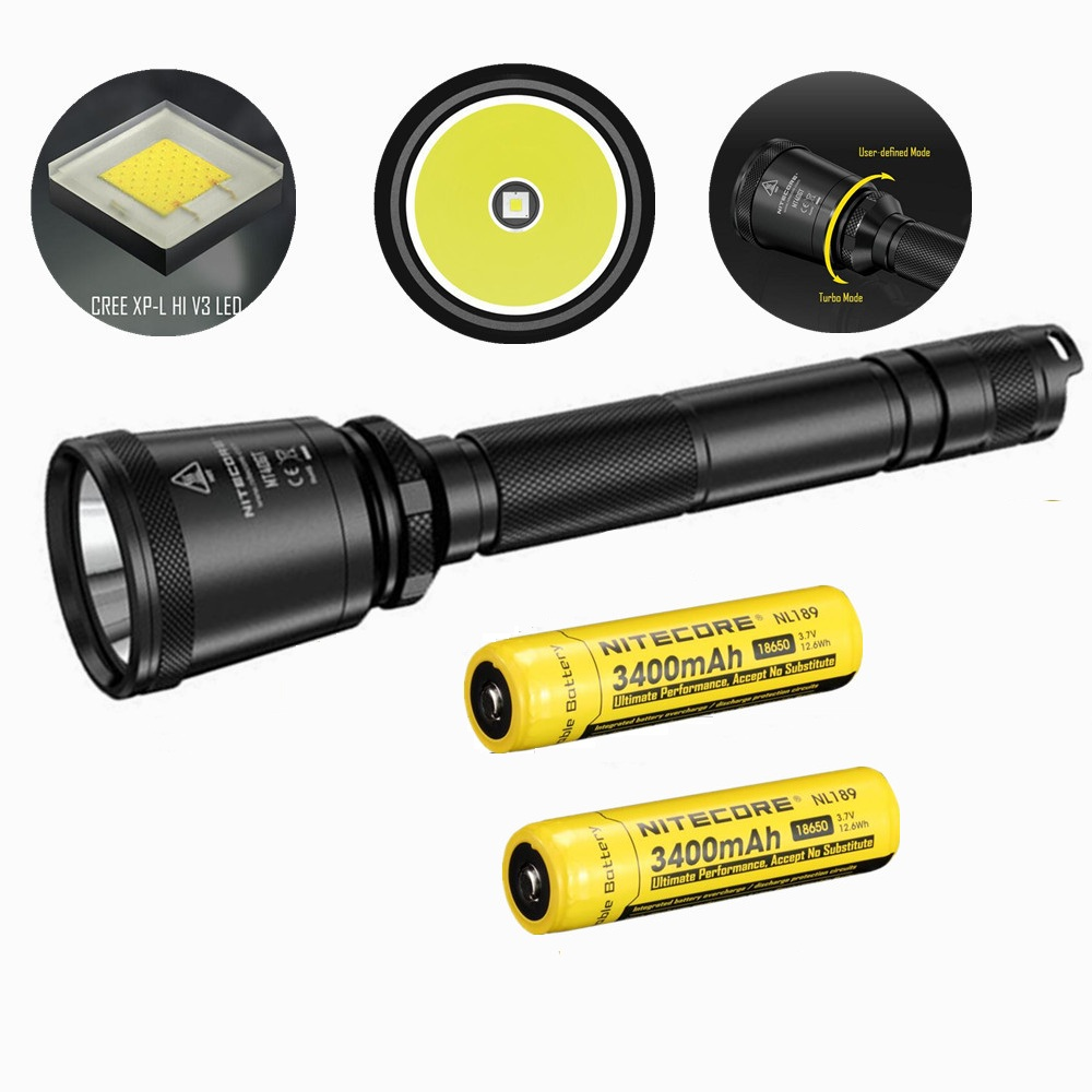 NITECORE MT40GT XP-L HI V3 Led Flashlight with 2 pcs nitecore NL189 3400mah 18650 battery 1000 Lumens 618 m Beam Distence Search nitecore p12gt cree xp l hi v3 1000lm led flashlight 320 meter torch new i2 charger 18650 3400mah battery for search
