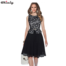 Oxiuly Print High-quality Stitching Lace Sleeveless Patchwork Chiffon Slim Put On A Line Large Waist Puff Dress Size S-XXL