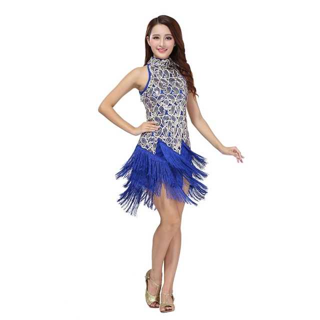 32c0b8a93bc1 Sexy Women Latin Dance Dress Bling Sequins Tassel Decorate Ballroom  Dancewear Dresses
