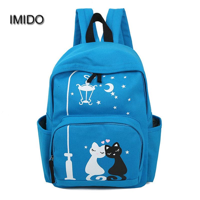 IMIDO Brand Canvas backpacks women bags travel backbag female shoulder backpack for teenager school bag mochila feminina SLD020