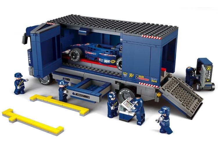 SLUBAN 0357 641 Pcs Truck F1 Racing Car Model Figure Building Blocks Figure Classic Brick Education Toys