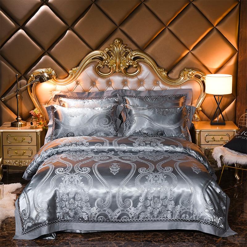 4 Pcs Luxury wedding King Queen size Bedding Sets silk cotton Jacquard Bed sheet Duvet cover set Pillowcases4 Pcs Luxury wedding King Queen size Bedding Sets silk cotton Jacquard Bed sheet Duvet cover set Pillowcases