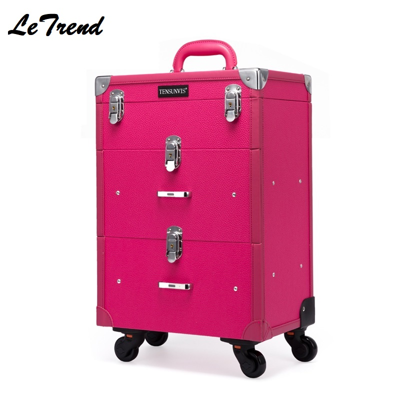 New Multi-function Professional Mackup Rolling Luggage Spinner Cosmetic Case Trolley Carry On Suitcases Wheel Cabin Travel Bag