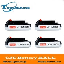 4X High Quality 20V 2000mAh Li ion Rechargeable Battery Power Tool Replacement Battery for BLACK DECKER